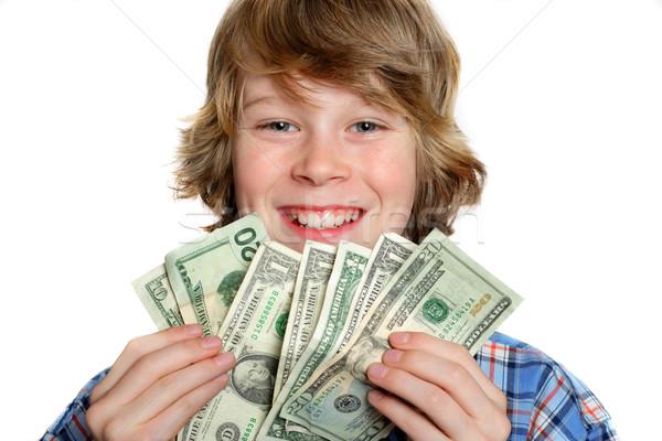 Betaaldag jongen amerikaanse geld papier hand Stockfoto © soupstock