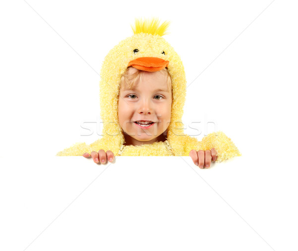 Boy in chicken costume holding sign Stock photo © soupstock