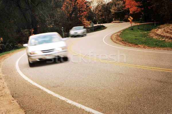 Around the curve, motion blur on cars Stock photo © soupstock