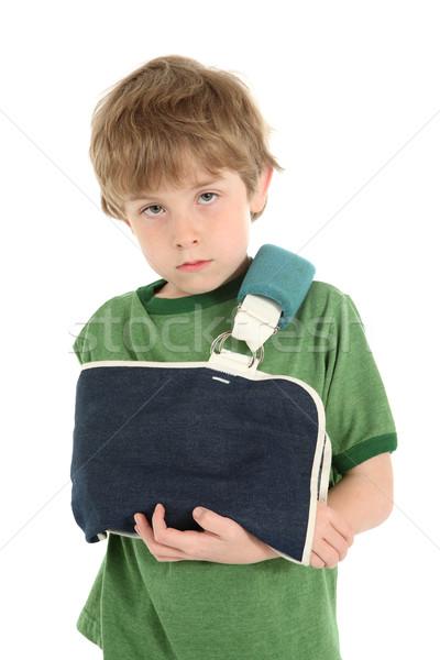 Fiú kar csúzli fiatal srác szomorú néz Stock fotó © soupstock