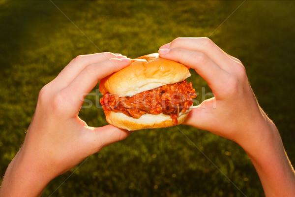 Bbq carne di maiale sandwich fuori pronto carne Foto d'archivio © soupstock