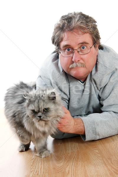 Man kat bril dier zorg vriendschap Stockfoto © soupstock