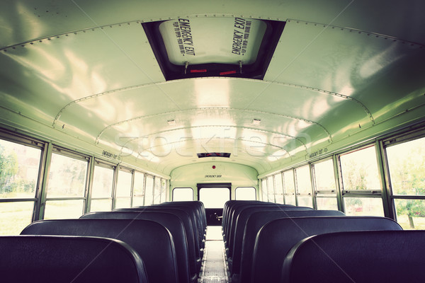 Interior of an old school bus Stock photo © soupstock