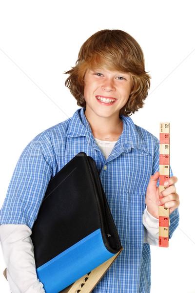 Klaar school tiener heerser notebook Stockfoto © soupstock