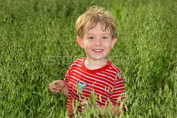 Fiú áll mező étel fiatalság mosolyog Stock fotó © soupstock