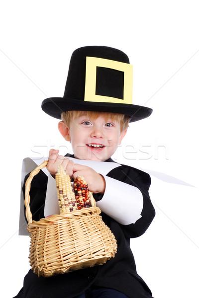 Zarándok ajándékok fiatal srác hordoz kosár kukorica Stock fotó © soupstock