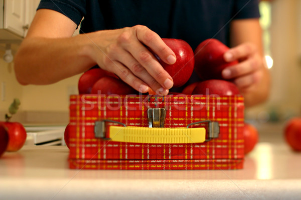 Packing a healthy lunch (Narrow field of focus down middle of pi Stock photo © soupstock