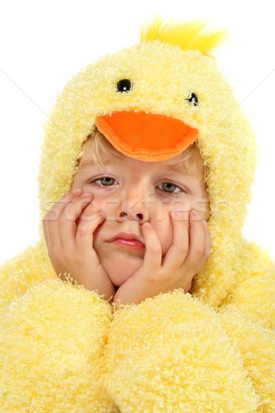 Dragen kostuum triest jongen kip pak Stockfoto © soupstock