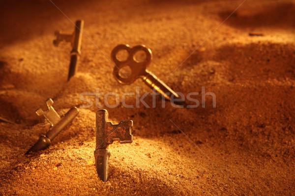 Photo stock: Scène · squelette · touches · métal · sable