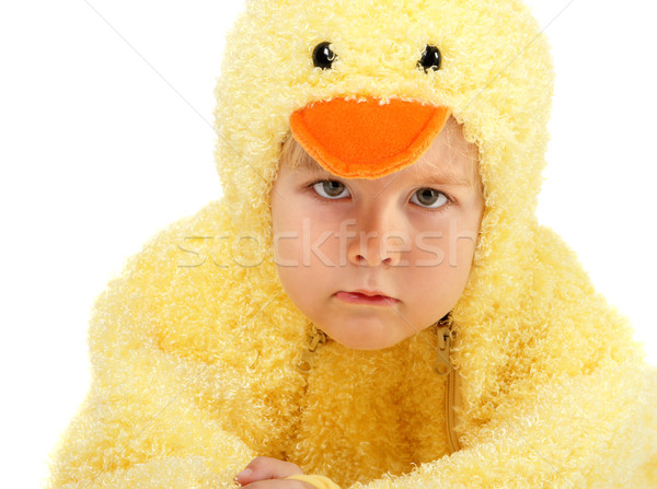 Unhappy boy dressed in a chicken suit Stock photo © soupstock
