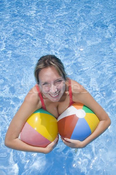 Femme bleu piscine plage heureux Photo stock © spanishalex