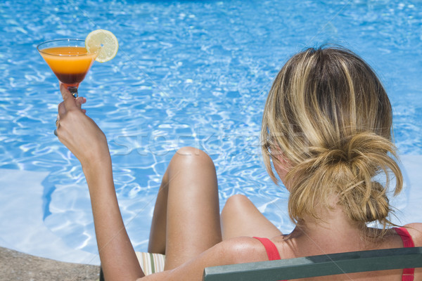 Cocktail femme bleu piscine été Photo stock © spanishalex