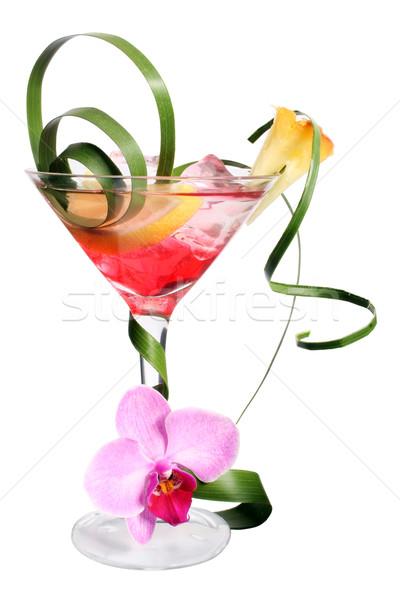 Tropicales cocktail extravagant fruits feuille de palmier garnir Photo stock © spanishalex