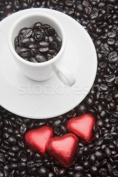 Café amour blanche tasse de café noir Photo stock © spanishalex