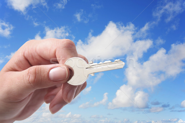 Stock photo: Hand Key and Sky