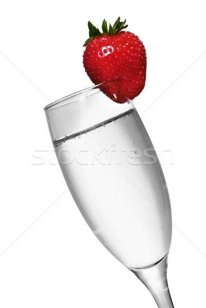 Fraise champagne blanc noir couleur mariage heureux Photo stock © spanishalex