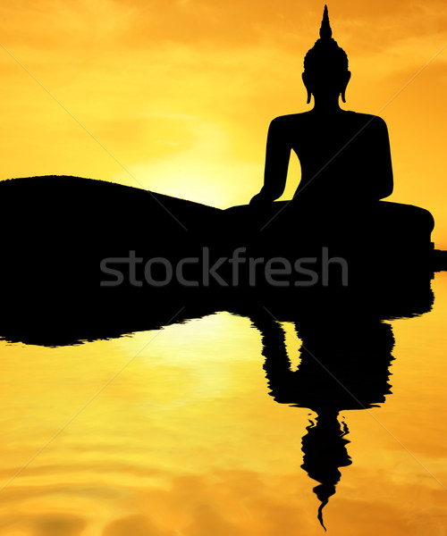 Coucher du soleil buddha thai style ciel pierre Photo stock © spanishalex