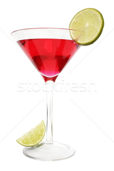 Rouge chaux cocktail isolé tranche garnir Photo stock © spanishalex