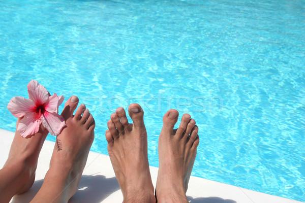 Pé piscina homem brilhante praia água Foto stock © spanishalex