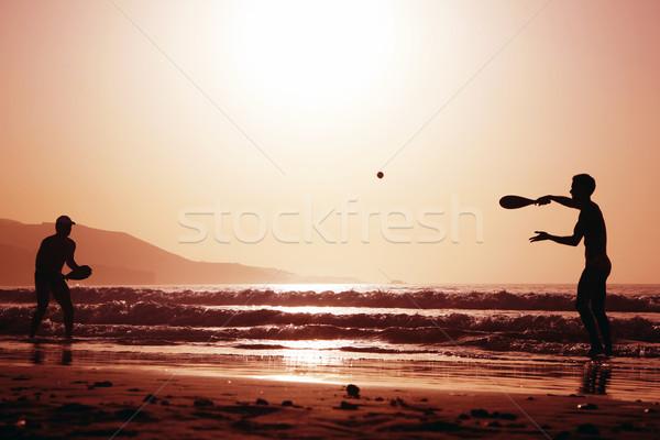 日没 テニス 二人の男性 演奏 ビーチ スポーツ ストックフォト © spanishalex