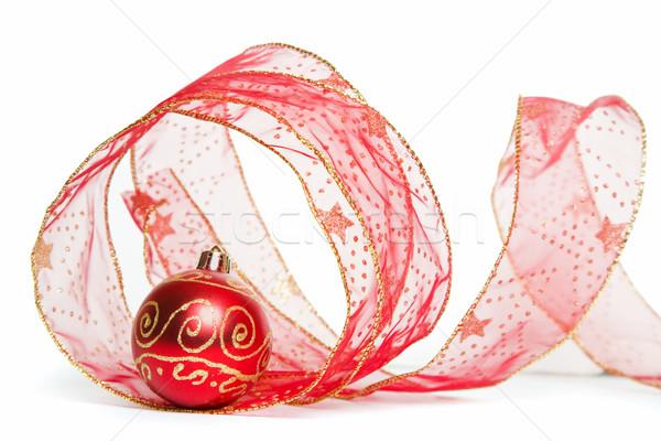 Natal fita bugiganga branco bola ouro Foto stock © spanishalex