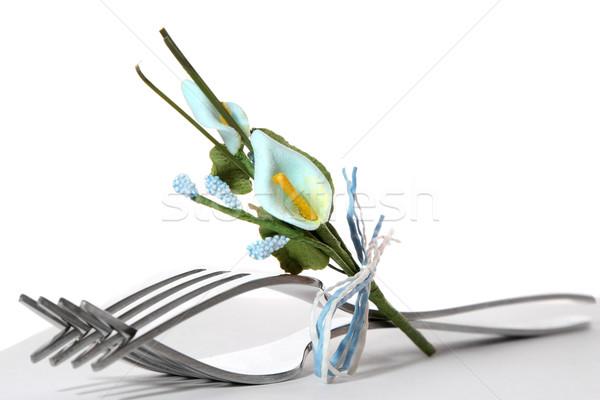 Talheres tabela pequeno flores flor casamento Foto stock © spanishalex