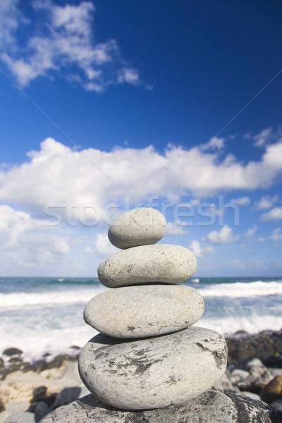 Zen cailloux eau nuages mer Photo stock © spanishalex