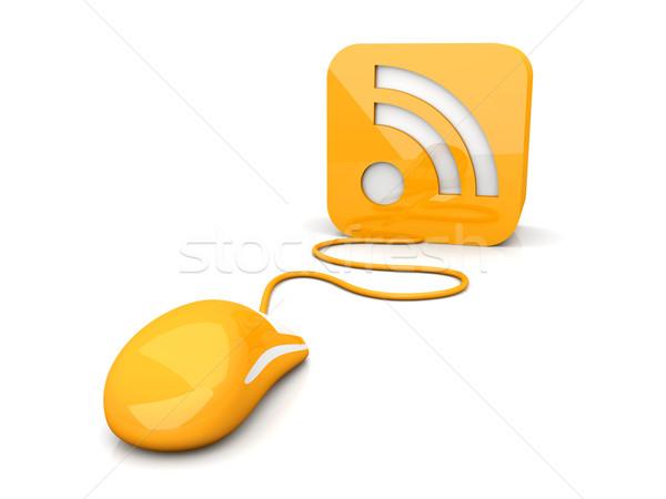 Rss kliknij 3D świadczonych ilustracja symbol Zdjęcia stock © Spectral