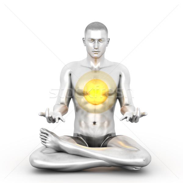 Meditatie vrouw chakra 3D gerenderd Stockfoto © Spectral