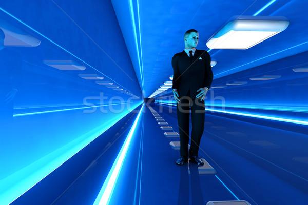 Сток-фото: коридор · деловой · человек · ходьбе · вниз · аэропорту · 3D