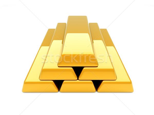 Aranyrúd piramis 3D renderelt illusztráció izolált Stock fotó © Spectral