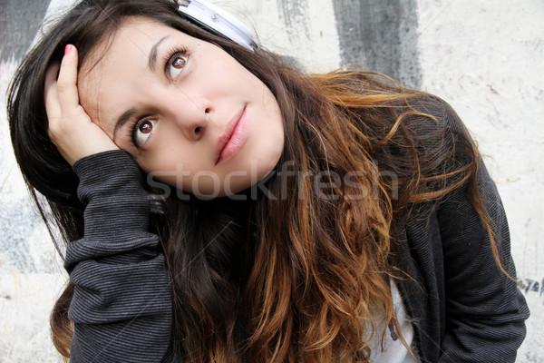 Melancólico música escuchar sesión pavimento Foto stock © Spectral