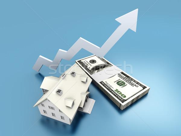 Сток-фото: растущий · недвижимости · значение · 3D · оказанный · иллюстрация