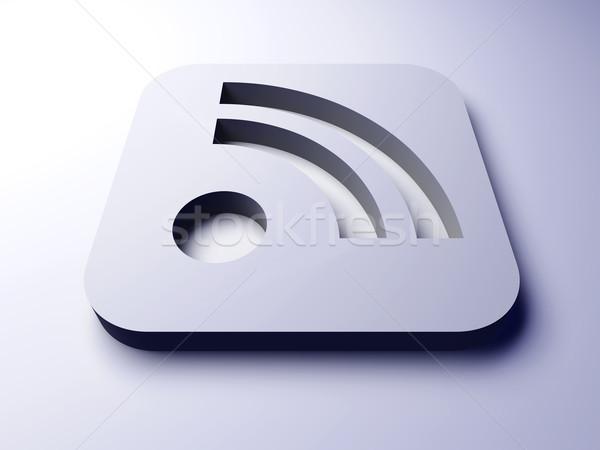 Rss símbolo 3D prestados ilustração internet Foto stock © Spectral