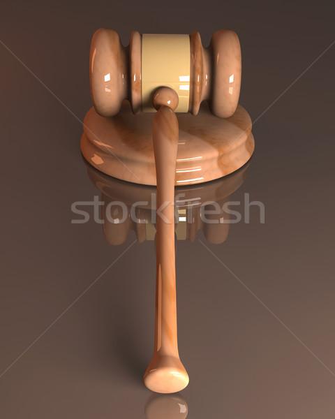 Asta martello 3D reso illustrazione giustizia Foto d'archivio © Spectral