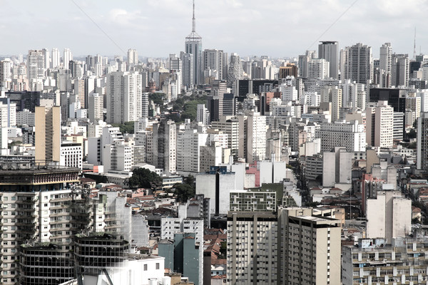 Sziluett Sao Paulo Brazília üzlet égbolt iroda Stock fotó © Spectral