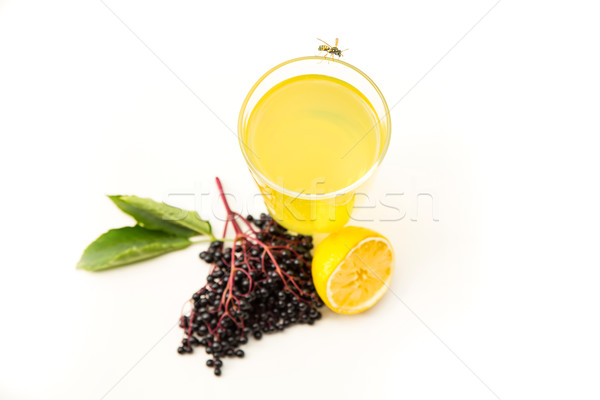 Stock photo: Natural Lemonade with elder berries