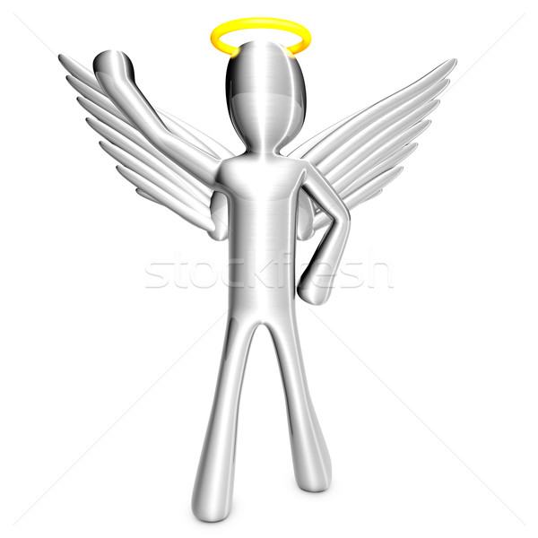 Cartoon Angel with Trash Can Stock photo © Spectral