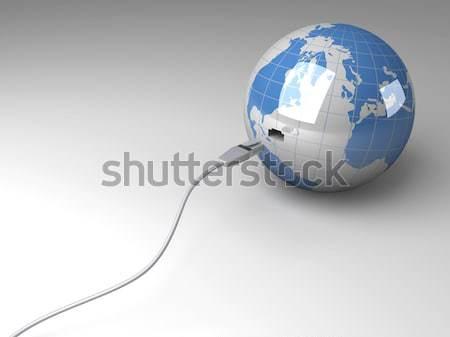 Mundo 3D prestados ilustração cabo isolado Foto stock © Spectral