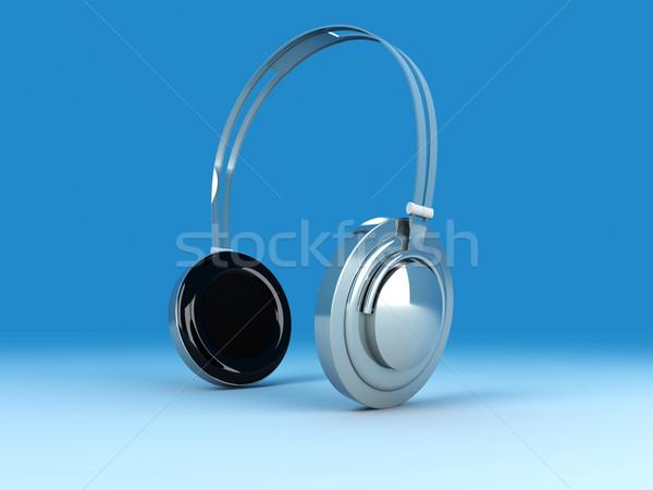 Kulaklık 3D render örnek krom gümüş Stok fotoğraf © Spectral
