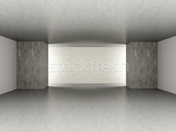 Lege kamer 3D gerenderd illustratie donkere beton Stockfoto © Spectral