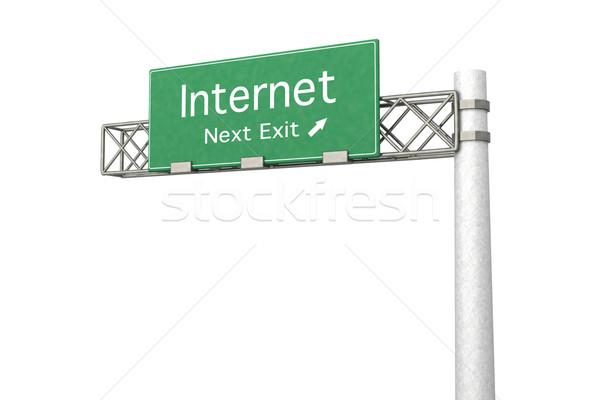 Sinal da estrada internet 3D prestados ilustração próximo Foto stock © Spectral