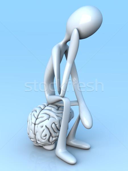 Düşünür karikatür anlamaya dev beyin 3D Stok fotoğraf © Spectral