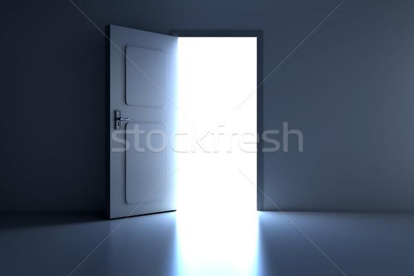Otwartych drzwi pustym pokoju 3D świadczonych ilustracja ściany Zdjęcia stock © Spectral