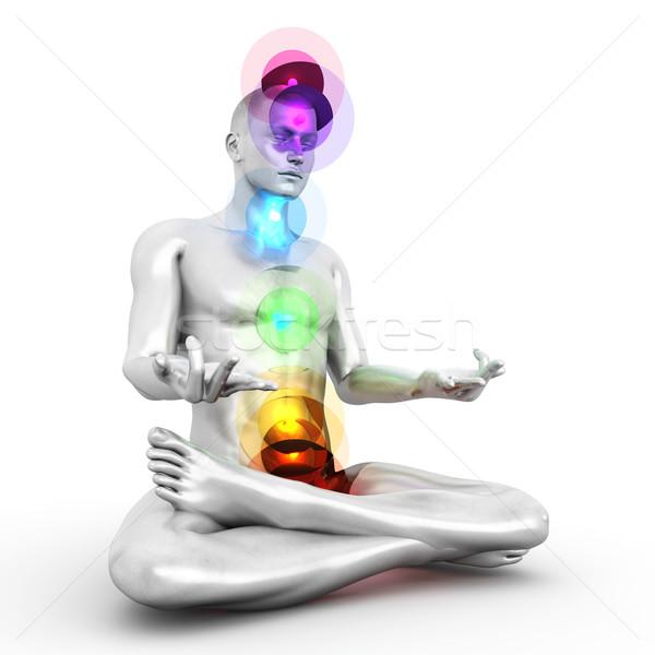 Chakra meditatie vrouw vol 3D Stockfoto © Spectral