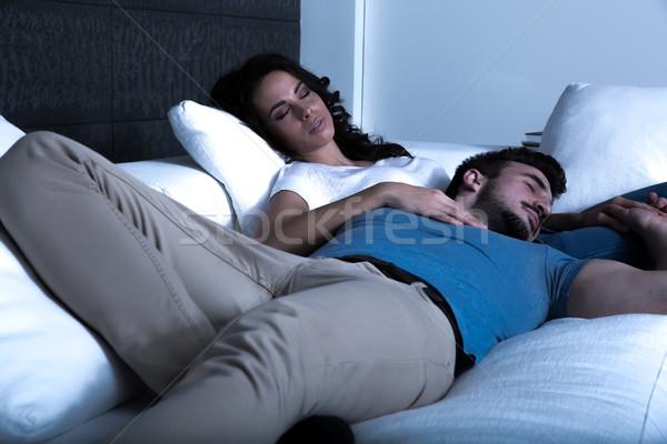 Stockfoto: Slapen · sofa · nacht · samen
