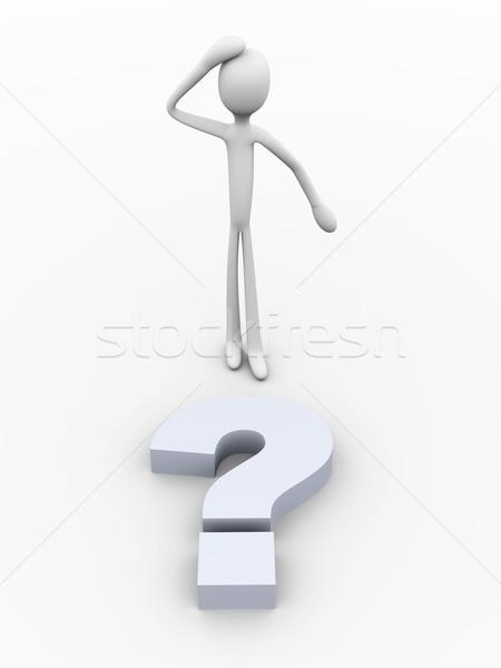 Trudny pytanie 3D świadczonych ilustracja odizolowany Zdjęcia stock © Spectral