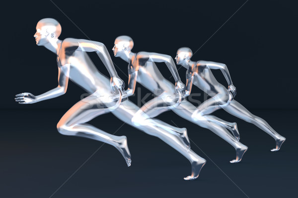 Coureurs trois 3D rendu illustration Photo stock © Spectral