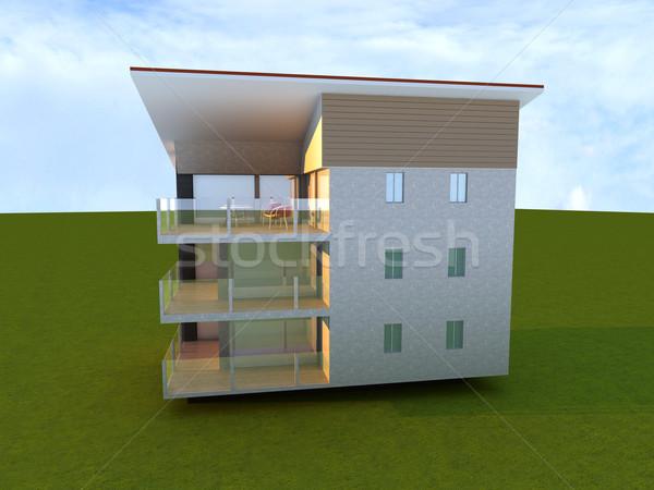 Modern gebouw 3D gerenderd illustratie huis ontwerp Stockfoto © Spectral