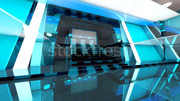 Stockfoto: Futuristische · entree · hal · corporate · gebouw · 3D